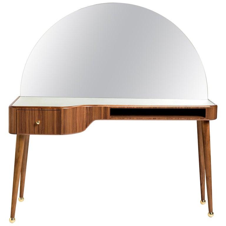 21st Century American Walnut Veneer Vanity Desk with Mirror For Sale