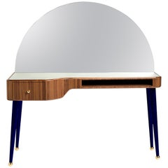21st Century American Walnut Veneer Vanity Desk with Mirror, Indigo