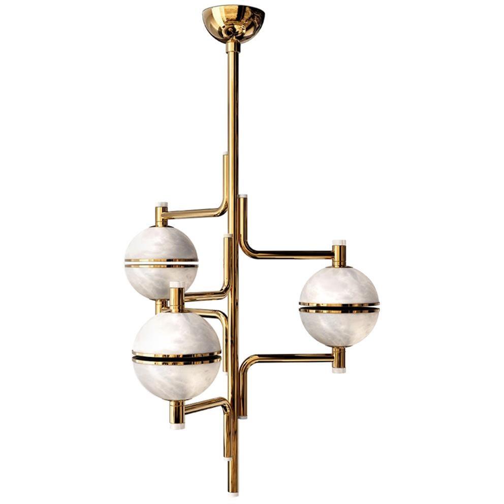 21st Century Andros II Suspension Lamp Brass Alabaster