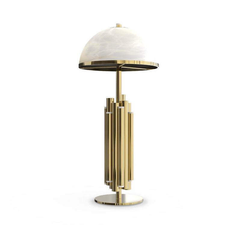 Portuguese 21st Century Andros Table Lamp Brass Alabaster For Sale