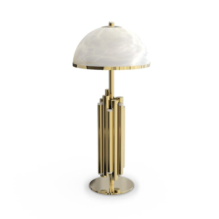 21st Century Andros Table Lamp Brass Alabaster In New Condition For Sale In RIO TINTO, PT