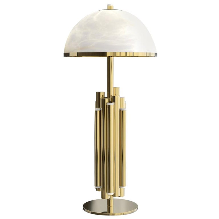 21st Century Andros Table Lamp Brass Alabaster For Sale