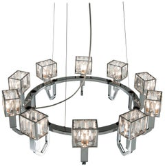 21st Century Angie Crystal and Chrome Chandelier by Roberto Lazzeroni