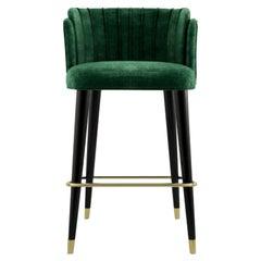 21st Century Anita Bar Chair Cotton Velvet Walnut Wood