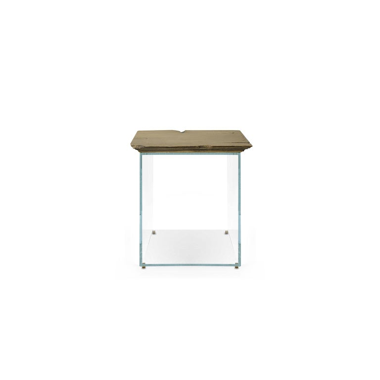 """1. Product description:  The """"Antique"""" side table is made in brushed patined brass and its base is extra clear tempered glass. In the end, the brass is protected with a high-end anti-stain varnish to prevent oxidations.  Bessa prides itself on"""