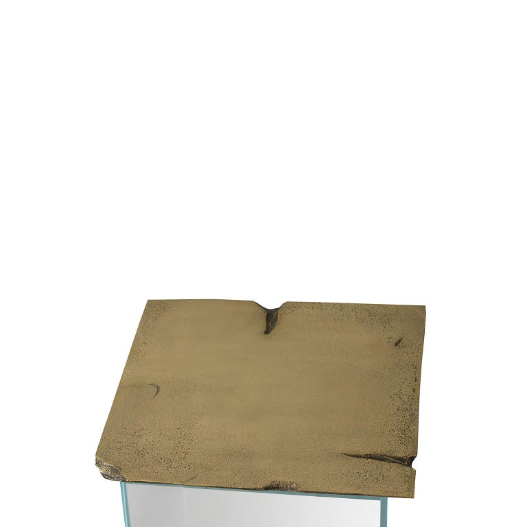 Portuguese 21st Century Antique Side Table, End Table, Brushed Aged Brass and Glass Base For Sale