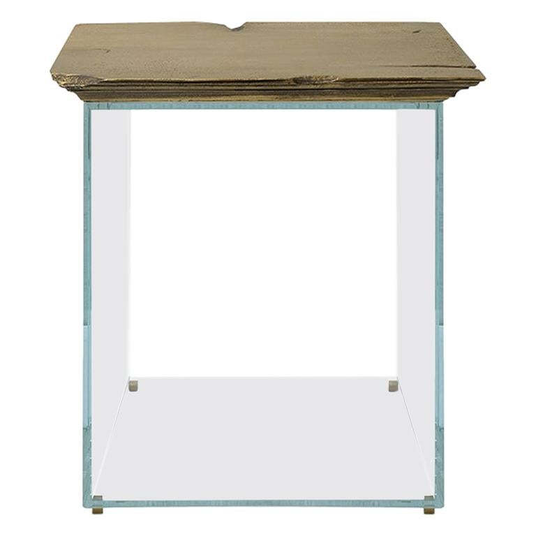 21st Century Antique Side Table, End Table, Brushed Aged Brass and Glass Base For Sale