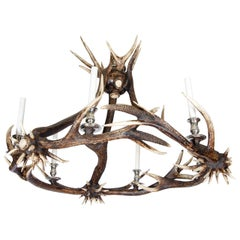 21st Century Antler Chandelier with Nickel-Plated Finish