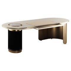 21st Century Arizona Desk Polished Brass Wood Marble