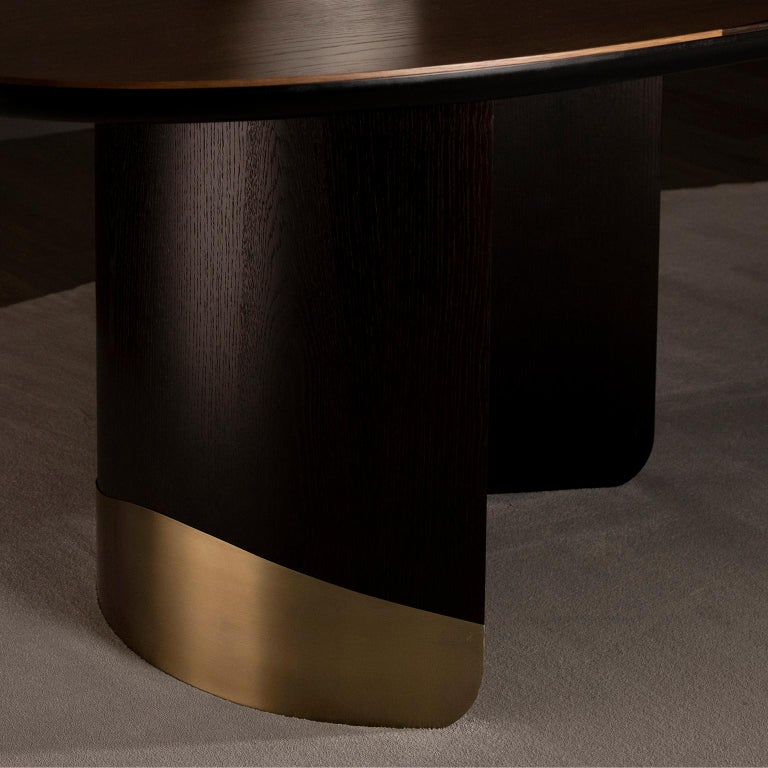 21st Century Armona 10-Seat Dining Table Wood Oxidized Brass Black Tobacco For Sale 13