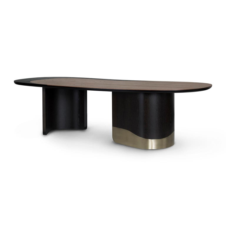 Portuguese 21st Century Armona 10-Seat Dining Table Wood Oxidized Brass Black Tobacco For Sale