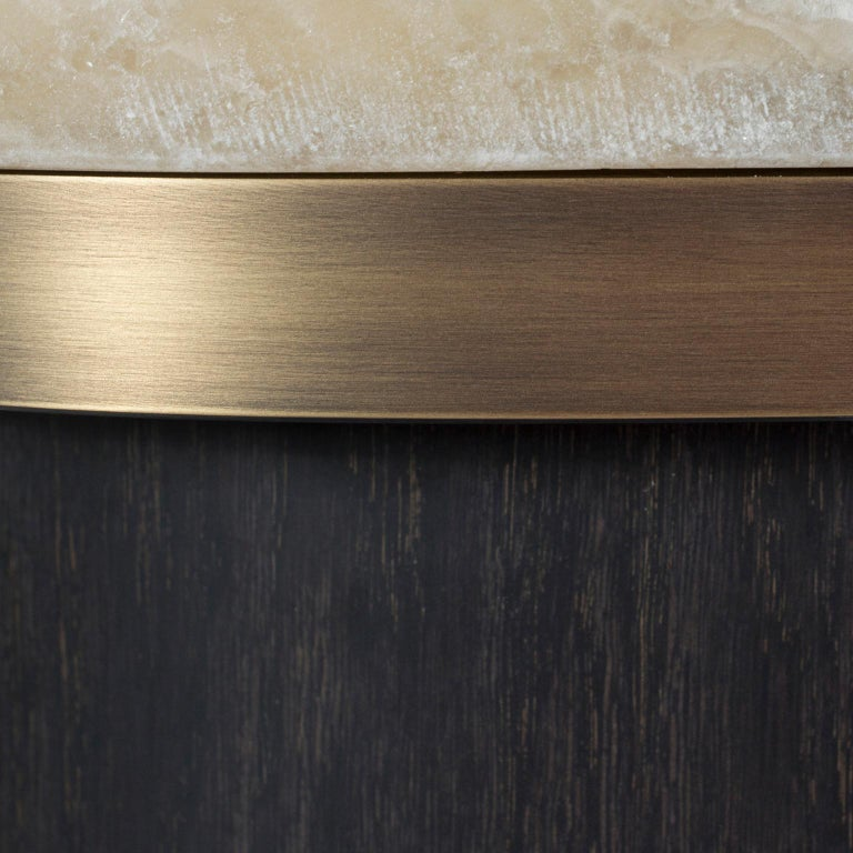 Polished 21st Century Armona Coffee Table Shadow Onyx American Oak Oxidised Brass For Sale