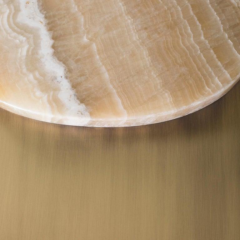 Armona Coffee Table Polished Shadow Onyx American Oak Black Stain Oxidised Brass For Sale 1