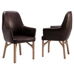 Arpeggio/s Dining Armchair in Oak and Brown Leather