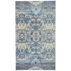 21st Century Art Deco Design in Shades of Blue and Gray Wool Rug