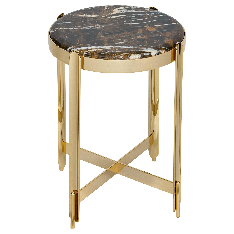 21st Century Art Déco Elie Saab Maison Black & Gold Marble Side Table, Italy