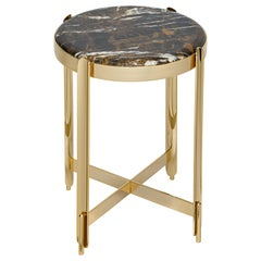 21st Century Art Déco Elie Saab Maison Black & Gold Marble Side Table, Italy