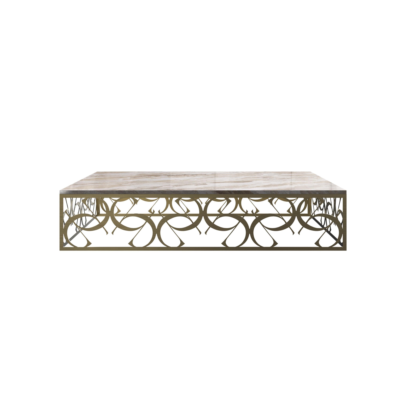 21st Century Art Deco Elie Saab Maison Calacatta Gold Marble Coffee Table, Italy