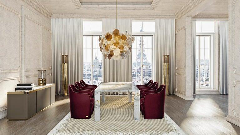 Italian 21st Century Art Deco Elie Saab Maison Calacatta Gold Marble Dining Table, Italy For Sale