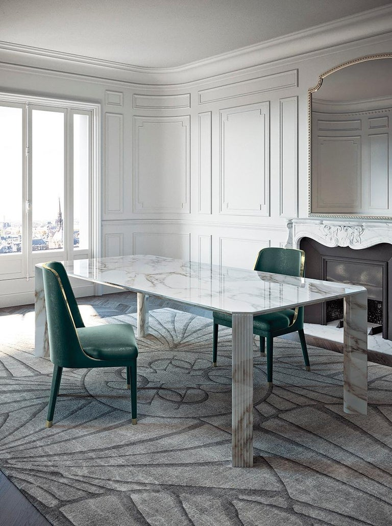 21st Century Art Deco Elie Saab Maison Calacatta Gold Marble Dining Table, Italy In New Condition For Sale In Massagno, CH
