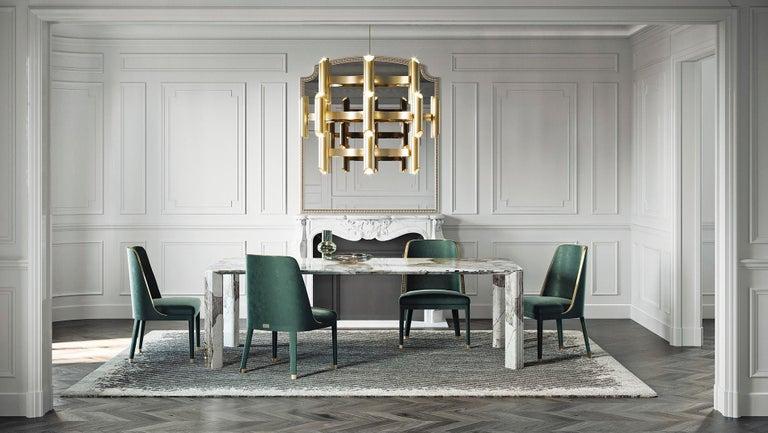 Contemporary 21st Century Art Deco Elie Saab Maison Calacatta Gold Marble Dining Table, Italy For Sale