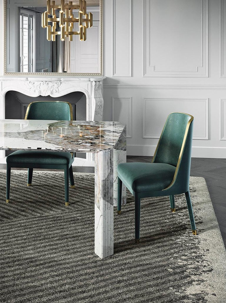 Metal 21st Century Art Deco Elie Saab Maison Calacatta Gold Marble Dining Table, Italy For Sale