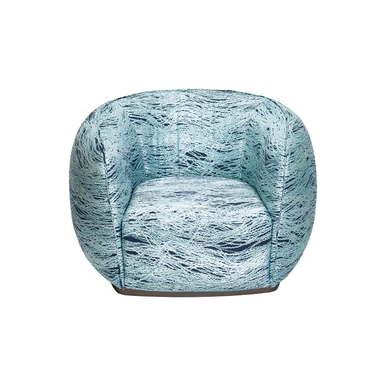 21st century Art Deco Elie Saab MaisonMarino Acqua fabric Elite armchair, Italy  Rich and powerful,Elite is a timeless classic able to distinguish itself through exclusive details and exquisite craftsmanship of its futuristic lines. Accentuated