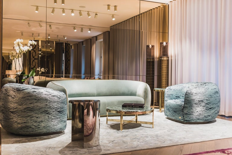Contemporary 21st Century Art Deco Elie Saab Maison Marino Acqua Fabric Elite Armchair, Italy For Sale