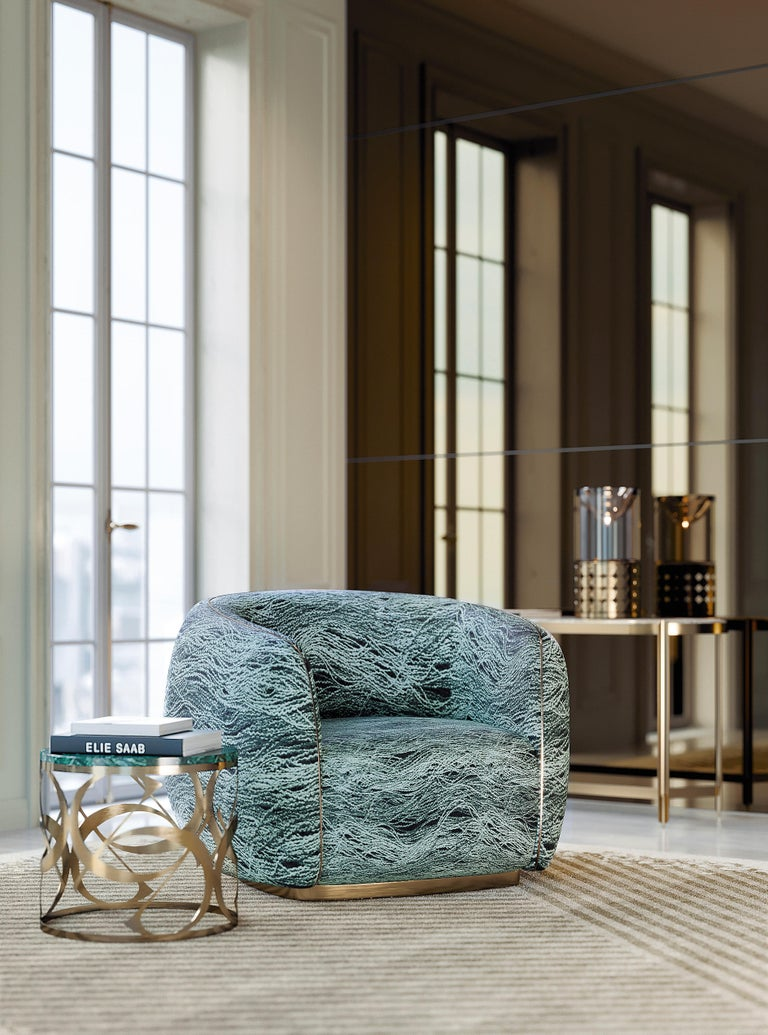 21st Century Art Deco Elie Saab Maison Marino Acqua Fabric Elite Armchair, Italy For Sale 1