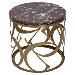 21st Century Art Déco Elie Saab Maison Red Marble Monogram Coffee Table, Italy