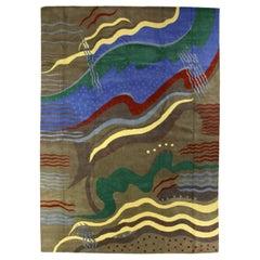 21st Century Art Deco Inspired Colorful Handmade Silk and Wool Rug