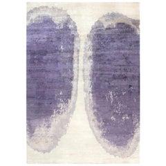 21st Century Art Deco Purple Trace De Pas Silk and Wool Rug