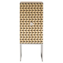 21st Century Art Deco Style 'Rachel' CO3L Tiled Cabinet in Brass and Steel