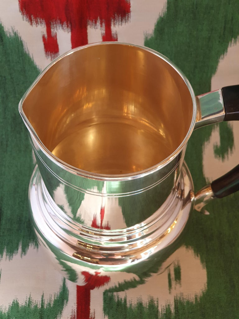 Ebonized 21st Century Art Deco Style Sterling Silver Water Pitcher, Italy, 2003 For Sale