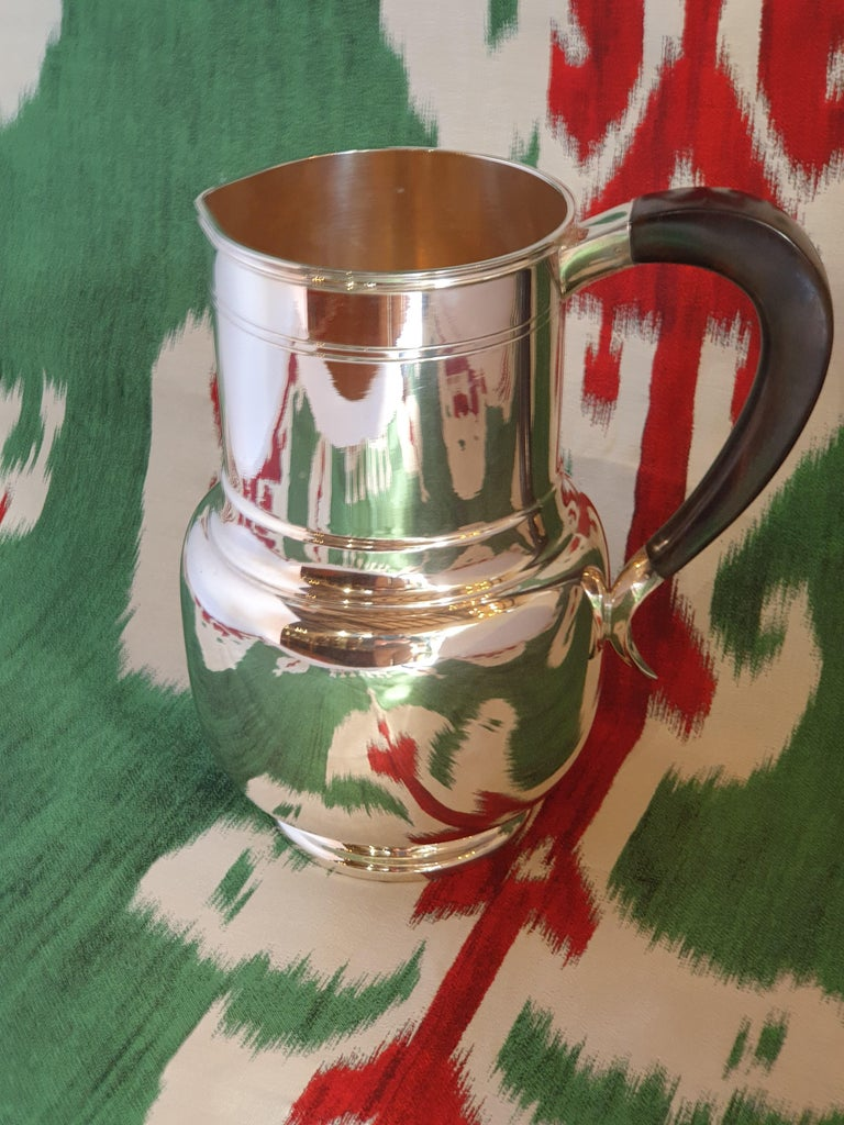Contemporary 21st Century Art Deco Style Sterling Silver Water Pitcher, Italy, 2003 For Sale