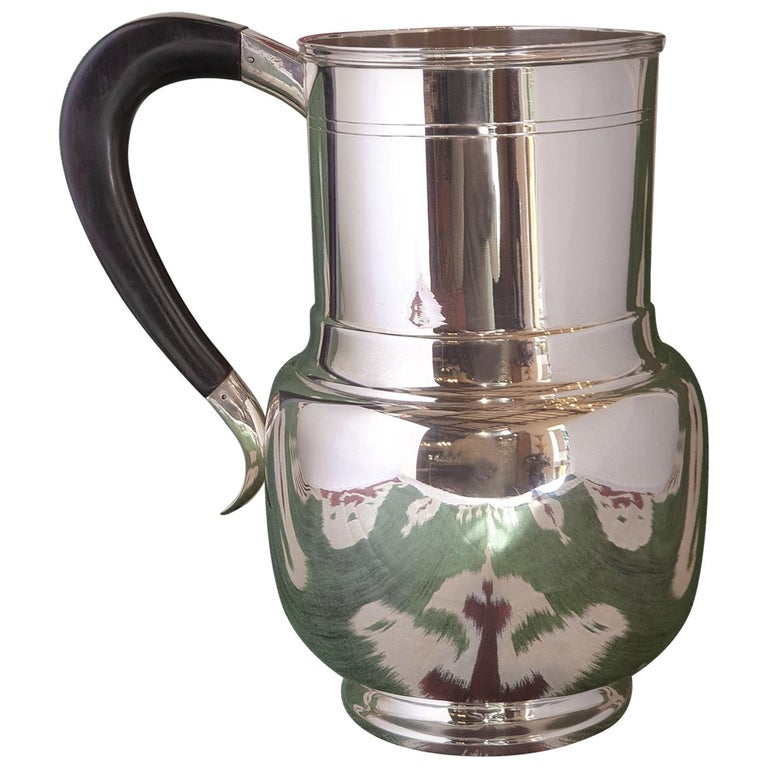 21st Century Art Deco Style Sterling Silver Water Pitcher, Italy, 2003 For Sale