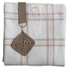 21st Century Asian Beige White Plaid Strap Blanket