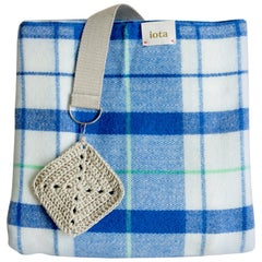 21st Century Asian Blue White Plaid Strap Blanket