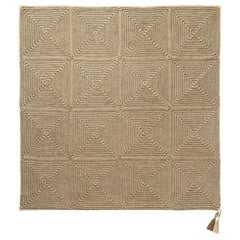 21st Century Asian Brown Beige Outdoor Indoor Medium Rug Handmade Crochet Rug