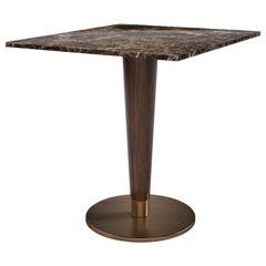 21st Century Atlanta Dining Table Nero Marquina Walnut Wood Aged Brushed Brass