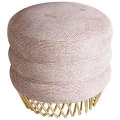 21st Century Audrey Stool Cotton Velvet Brass