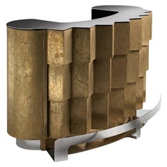21st Century Avenue Bar Counter Brass and Wood