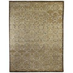 21st Century Aztec Design Brown Handmade Silk Rug