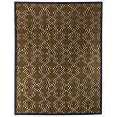 21st Century Aztec Geometric Design Handmade Rug in Beige, Brown and Blue