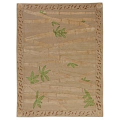 21st Century Bamboo Handmade Wool and Silk Rug in Brown and Green