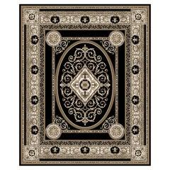 21st Century Bamboo Silk Handknotted Rug by Modenese Interiors, Black&White