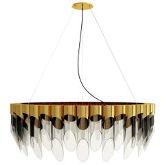 21st Century Bamboo Suspension Lamp Brass Glass