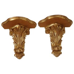 21st Century Baroque Style Pair of Giltwood Wall Brackets, Italy, 2015