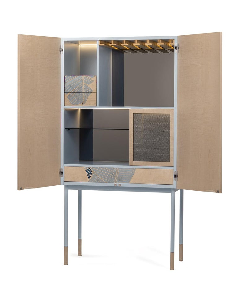 Italian 21st Century Basjoo Bar Cabinet in Cedar, White and Blue Erable, Made in Italy For Sale