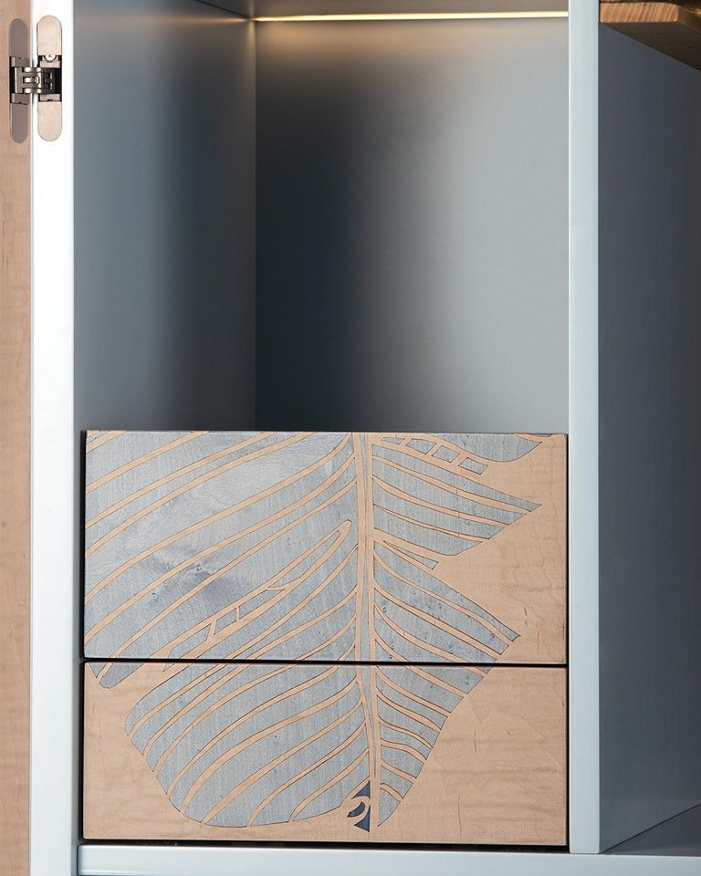 Contemporary 21st Century Basjoo Bar Cabinet in Cedar, White and Blue Erable, Made in Italy For Sale